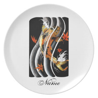 Cool Oriental Japanese Koi Lucky Carp Water Ink Dinner Plate