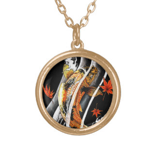 Cool Oriental Japanese Koi Lucky Carp Water Ink Round Pendant Necklace