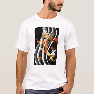 Cool Oriental Japanese Koi Lucky Carp Water Ink T-Shirt