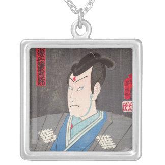 Cool oriental japanese kunichika samurai art square pendant necklace