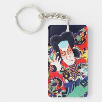 Cool oriental japanese kunichika samurai warrior Double-Sided rectangular acrylic keychain