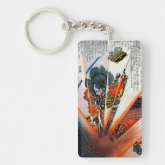 Cool oriental japanese Kunioshi Samurai Warrior Double-Sided Rectangular Acrylic Keychain
