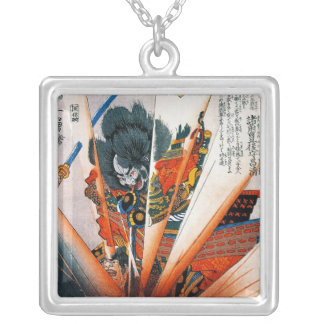 Cool oriental japanese Kunioshi Samurai Warrior Silver Plated Necklace