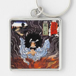 Cool oriental japanese Kuniyoshi bushi spirit art Silver-Colored Square Keychain