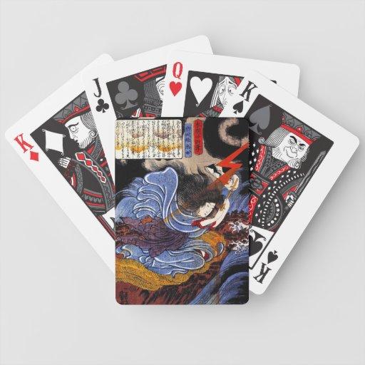 Cool oriental japanese Kuniyoshi goddess art Card Deck