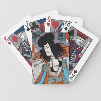 Cool oriental japanese Kuniyoshi kabuki actor art Poker Cards