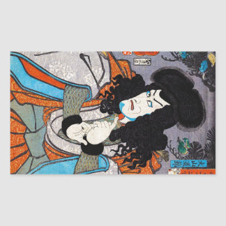 Cool oriental japanese Kuniyoshi kabuki actor art Rectangular Sticker