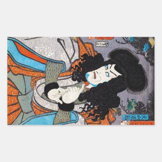 Cool oriental japanese Kuniyoshi kabuki actor art Rectangular Sticker