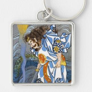 Cool oriental japanese Kuniyoshi legendary warrior Silver-Colored Square Keychain