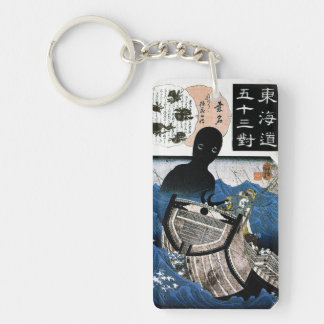 Cool oriental japanese Kuniyoshi sea demon art Double-Sided Rectangular Acrylic Keychain