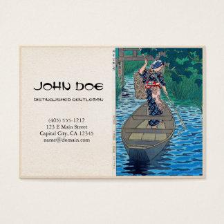 Cool oriental japanese lake fisherman lady boat business card
