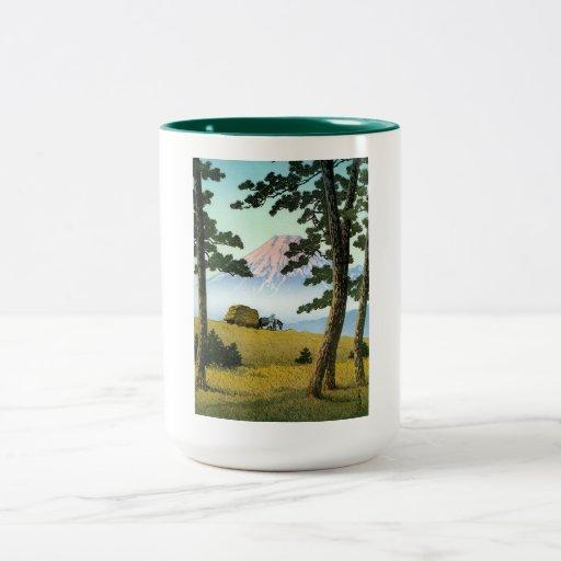 Cool oriental japanese landsape scenery Mt. Fuji Two-Tone Coffee Mug