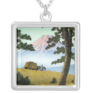 Cool oriental japanese landsape scenery Mt. Fuji Silver Plated Necklace