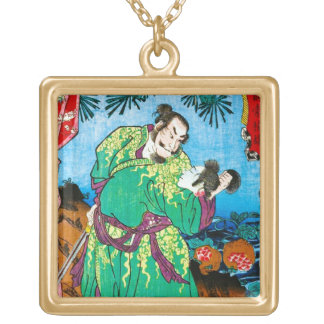 Cool oriental japanese Legendary Ancient Hero art Gold Plated Necklace