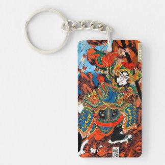 Cool oriental japanese legendary hero Samurai art Double-Sided Rectangular Acrylic Keychain