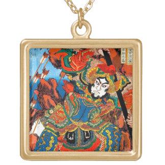 Cool oriental japanese legendary hero Samurai art Gold Plated Necklace