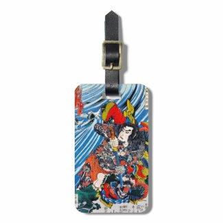 Cool oriental japanese Legendary Hero Samurai Bag Tag