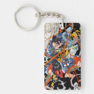 Cool oriental Japanese Legendary Hero Warrior art Double-Sided Rectangular Acrylic Keychain