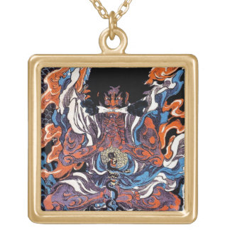 Cool oriental japanese Legendary Sanin warrior art Gold Plated Necklace