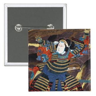 Cool oriental japanese legendary warrior samurai pinback button
