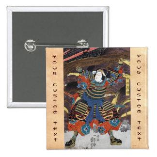 Cool oriental japanese legendary warrior samurai pinback buttons