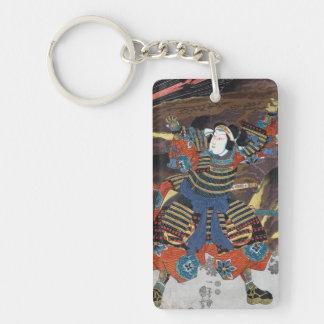 Cool oriental japanese legendary warrior samurai Double-Sided rectangular acrylic keychain