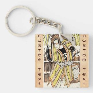 Cool oriental japanese legendary warrior samurai Double-Sided square acrylic keychain