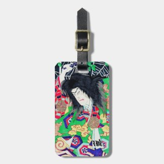 Cool oriental japanese legendary warrior samurai travel bag tags