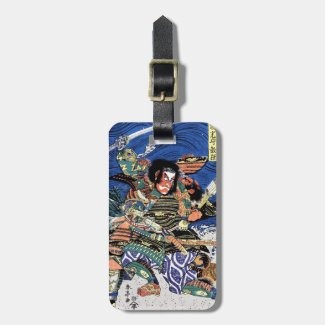 Cool oriental japanese legendary warrior samurai tags for luggage