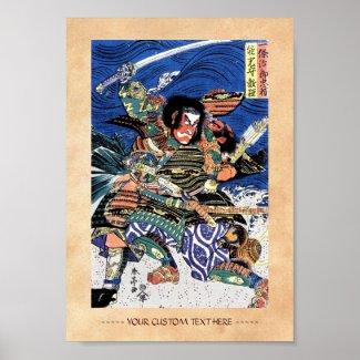 Cool oriental japanese legendary warrior samurai print
