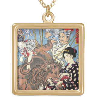 Cool oriental japanese Lion fall in Love art Gold Plated Necklace