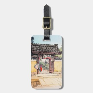 Cool oriental japanese Little Temple Gate scenery Travel Bag Tags