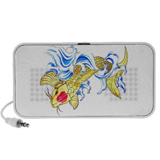 Cool Oriental Japanese Lucky Gold Koi Fish Carp Travel Speakers