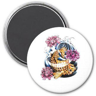 Cool Oriental Japanese Lucky Koi Carp tattoo 3 Inch Round Magnet