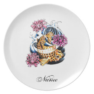 Cool Oriental Japanese Lucky Koi Carp tattoo Plate