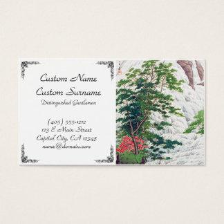 Cool oriental japanese mountain waterfall tree business card