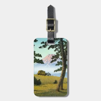 Cool oriental japanese mt fuji tagonoura landscape tags for bags