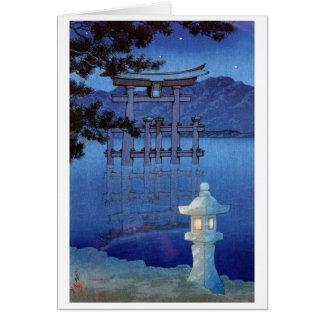 Cool oriental japanese night gate scenery art greeting cards