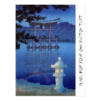Cool oriental japanese night gate scenery art postcard
