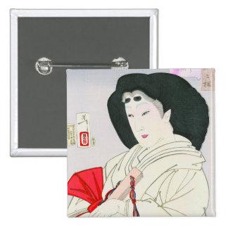 Cool oriental japanese old geisha lady art pinback button
