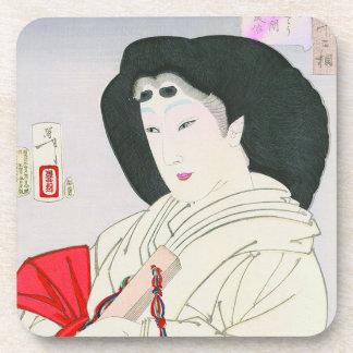 Cool oriental japanese old geisha lady art drink coaster