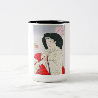 Cool oriental japanese old geisha lady art Two-Tone coffee mug