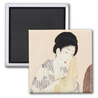 Cool oriental japanese old print geisha lady art 2 inch square magnet