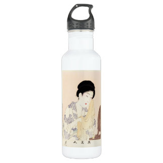 Cool oriental japanese old print geisha lady art stainless steel water bottle