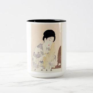 Cool oriental japanese old print geisha lady art Two-Tone coffee mug