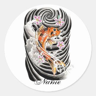 Cool Oriental Japanese Orange Carp Koi Fish Classic Round Sticker