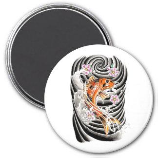 Cool Oriental Japanese Orange Carp Koi Fish 3 Inch Round Magnet