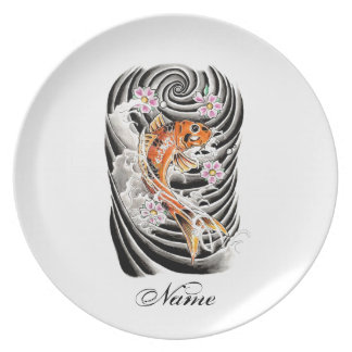 Cool Oriental Japanese Orange Carp Koi Fish Melamine Plate