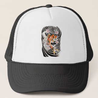 Cool Oriental Japanese Orange Carp Koi Fish Trucker Hat