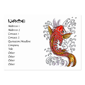 Cool oriental japanese orange ink lucky koi fish business card templates